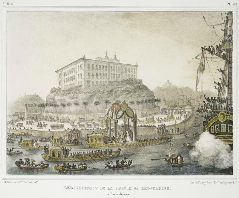 NYPL-Debret-Jean-Baptiste-Desembarque-da-Princesa-Leopoldina-no-Rio-de-Janeiro-com-o-Mosteir